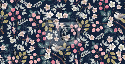 Plakat  Vector illustration of a seamless floral pattern with cute birds in spring for Wedding, anniversary, birthday and party. Design for banner, poster, card, invitation and scrapbook