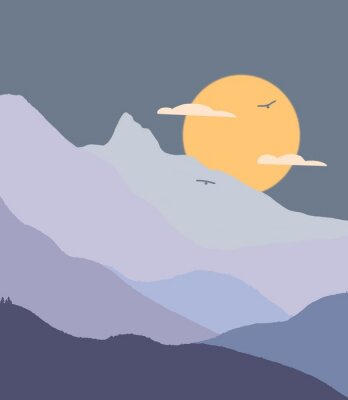 Plakat vector illustration of blue sky with clouds and sun