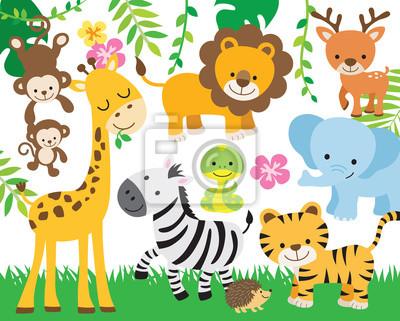 Plakat Vector illustration of cute safari animals including lion, tiger, elephant, monkey, zebra, giraffe, deer, snake, and hedgehog.