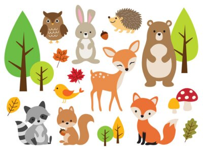Plakat Vector illustration of cute woodland forest animals including deer, rabbit, hedgehog, bear, fox, raccoon, bird, owl, and squirrel.