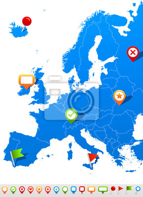 Plakat Vector illustration of Europe map and navigation icons