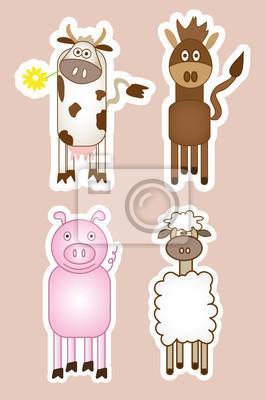 Plakat Vector illustration of farm animals