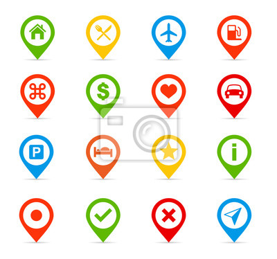 Vector illustration of map pins and labels.Navigation icons - Illustration.