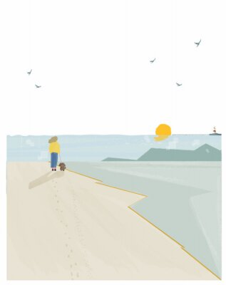 Plakat Vector illustration of spring or summer beach background. Minimalist image of summer or spring  seaside landscape. Lighthouse,seagull, woman take a dog for a walk.Landscape by the sea concept.