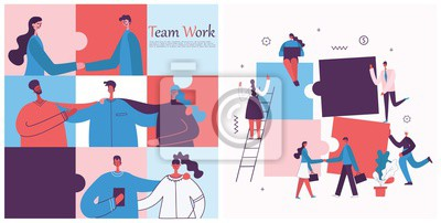 Plakat Vector illustration of the office concept business people in the flat style. E-commerce and team work business puzzle concept