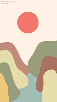 Plakat vector illustration of views river japanese