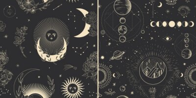 Plakat Vector illustration set of moon phases. Different stages of moonlight activity in vintage engraving style. branches of plants and flowers. sacred isoteric geometry