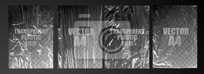 Plakat vector illustration. texture transparent stretched film polyethylene. vector design element graphic rumpled plastic warp