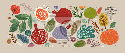 Plakat Vector illustrations of autumn objects: fruits and vegetables, harvest, trees, leaves, plants, pumpkin, pomegranates, figs and nuts. Cute freehand drawings to create a poster or card.