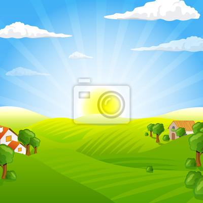 Vector Ilustracja krajobrazu wiejskiego z pola i wzgórza