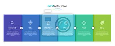 Plakat Vector infographic label template with icons. 6 options or steps. Infographics for business concept. Can be used for info graphics, flow charts, presentations, web sites, banners, printed materials.