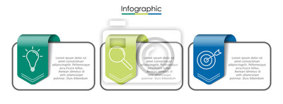 Plakat Vector infographic template with three steps or options. Illustration presentation with line elements icons.  Business concept design can be used for web, brochure, diagram