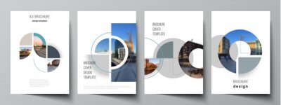 Plakat Vector layout of A4 cover mockups design templates for brochure, flyer layout, booklet, cover design, book, brochure cover. Background with circle round banners. Corporate business concept template.