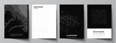 Plakat Vector layout of A4 cover mockups templates for brochure, flyer layout, booklet, cover design, book design. Abstract technology black color science background. Digital data. Minimalist high tech.