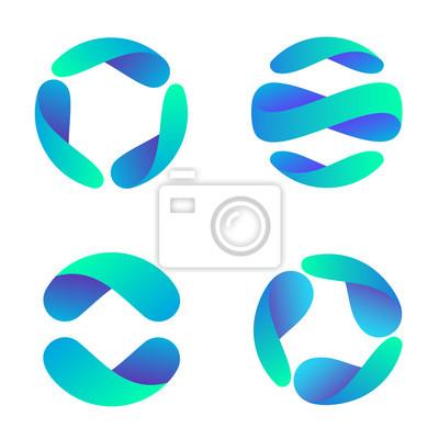 Plakat Vector logo design template for business. Global icon set.