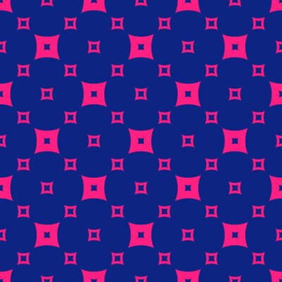 Plakat Vector minimalist geometric seamless pattern with squares. Colorful funky style texture. Trendy bright colors, magenta and navy blue. Retro 1980-1990's fashion background. Repeating minimal design