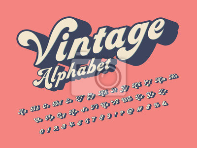Plakat Vector of groovy hippie style alphabet design