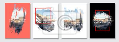 Plakat Vector paint brush clipping masks for flyer, presentation, brochure, banner, poster design. City blur background.