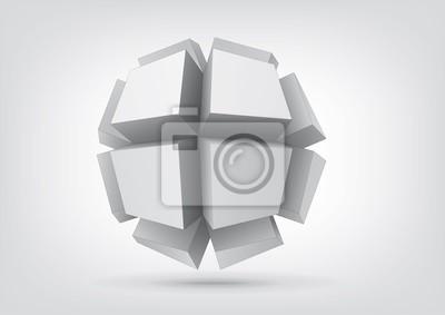 Vector polyhedron z prostokątnymi wytłaczanych twarzy