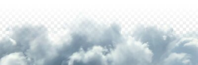Plakat Vector realistic isolated cloud sky for template decoration and covering on the transparent background. Concept of storm and cloudscape.