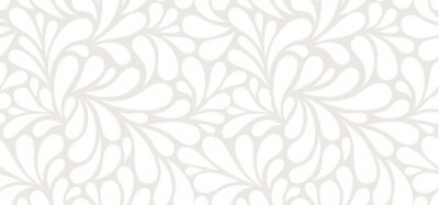 Plakat Vector seamless beige pattern with white drops. Monochrome abstract floral background.