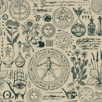 Plakat Vector seamless pattern on the theme of alchemy and healing in retro style. A repeatable background with hand-drawn sketches, unreadable notes, various herbs and ancient alchemical symbols