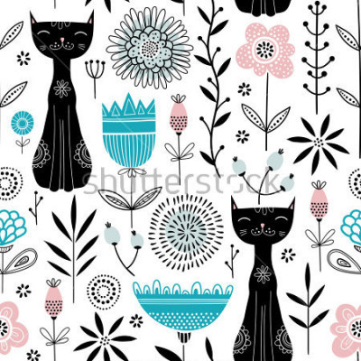 Plakat Vector seamless pattern with cute black cats and flowers