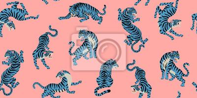 Plakat Vector seamless pattern with cute tigers on the pink background. Fashionable fabric design.