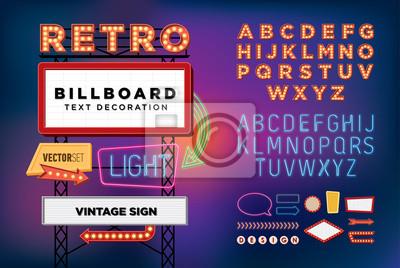 Plakat Vector set neon retro, vintage, billboard, jasne szyld