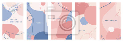 Plakat Vector set of abstract creative backgrounds in minimal trendy style with copy space for text - design templates for social media stories