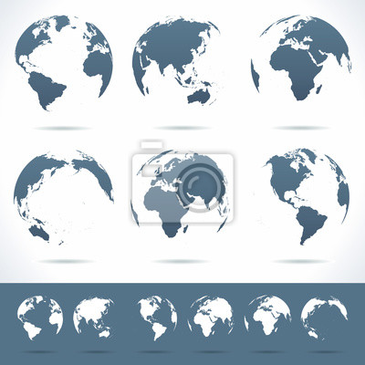 Plakat Vector set of different globe views. No contours.