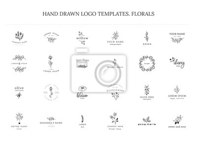 Plakat Vector set of floral hand drawn logo templates in elegant and minimal style.
