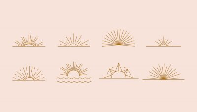 Plakat Vector set of linear boho icons and symbols - sun logo design templates  - abstract design elements for decoration in modern minimalist style for social media posts