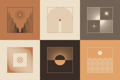 Plakat Vector set of linear boho icons and symbols - sun logo design templates  and pritns - abstract design elements for decoration in modern minimalist style