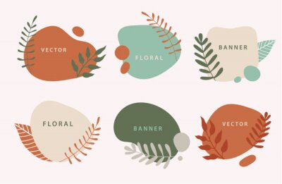 Plakat Vector set of liquid organic forms and badges set with plants, leaves. Flowing shapes banners. Template for logo, branding, web design, social media post, business card, invitation, print