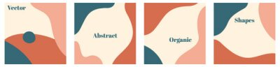 Plakat Vector set of minimal square backgrounds with organic abstract shapes and sample text in pastel colors