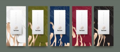 Plakat Vector set packaging templates japanese of nature luxury or premium products.logo design with trendy linear style.voucher, flyer, brochure,wallpaper.Menu book cover japan style vector illustration.