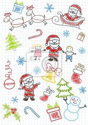 Vector sketchs - Santa Claus i dzieci