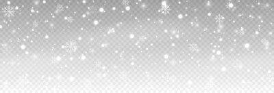 Plakat Vector snow. Snow on an isolated transparent background. Snowfall, blizzard, winter, snowflakes. Christmas image.
