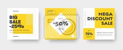 Plakat Vector square web banner templates for big and mega sale with yellow square elements.