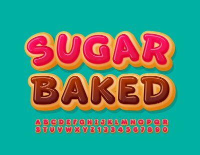 Plakat Vector sweet banner Sugar Baked. Delicious cake Font. Pink glazed Alphabet Letters and Numbers set