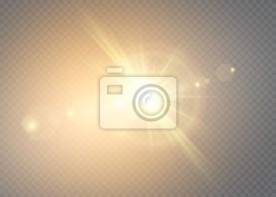 Plakat Vector transparent sunlight special lens flash light effect.front sun lens flash. Vector blur in the light of radiance. Element of decor.