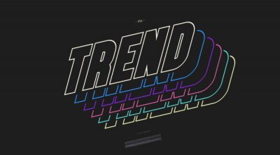 Plakat Vector trend font 3D bold line style modern typography for decoration, logo, poster, t shirt, book, card, sale banner, printing on fabric, industrial. Cool typeface. Trendy alphabet. 10 eps