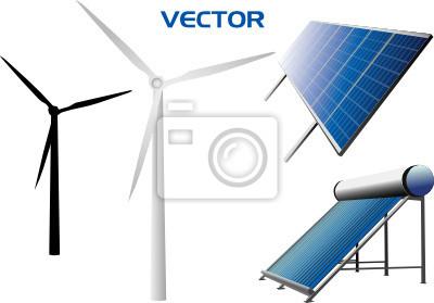 Plakat vectorial ikony paneli słonecznych i turbin wiatrowych