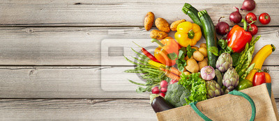 Plakat Vegetables falling out of tipped over bag