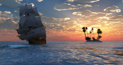 Plakat velero r puesta de sol