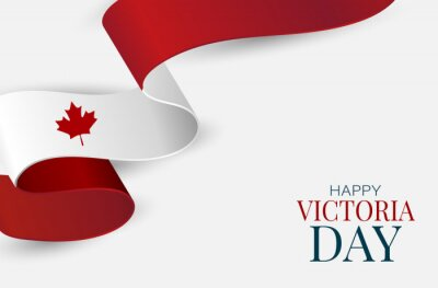 Plakat Victoria Day Canada Holiday banner background. Waving ribon, national white and red flag with maple leaf style. Vector illustration with lettering.