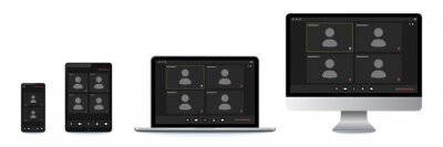 Plakat Video conference user interface, great design for any purposes. Online business webinar chat. Digital user interface. Video call screen template. Computer screen. Incoming call. Laptop screen.