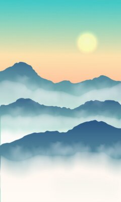 Plakat View hill nature green tone. Sunrise and mist in the mountains on colorful sky.