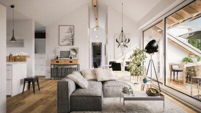 Plakat view inside modern luxury attic loft apartment - 3d rendering